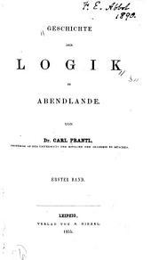 Geschichte der Logik im Abendlande: Band 1