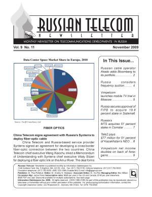 Russia Telecom Monthly Newsletter November 2009 PDF