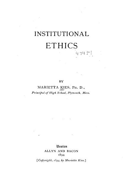 Download Institutional Ethics Book