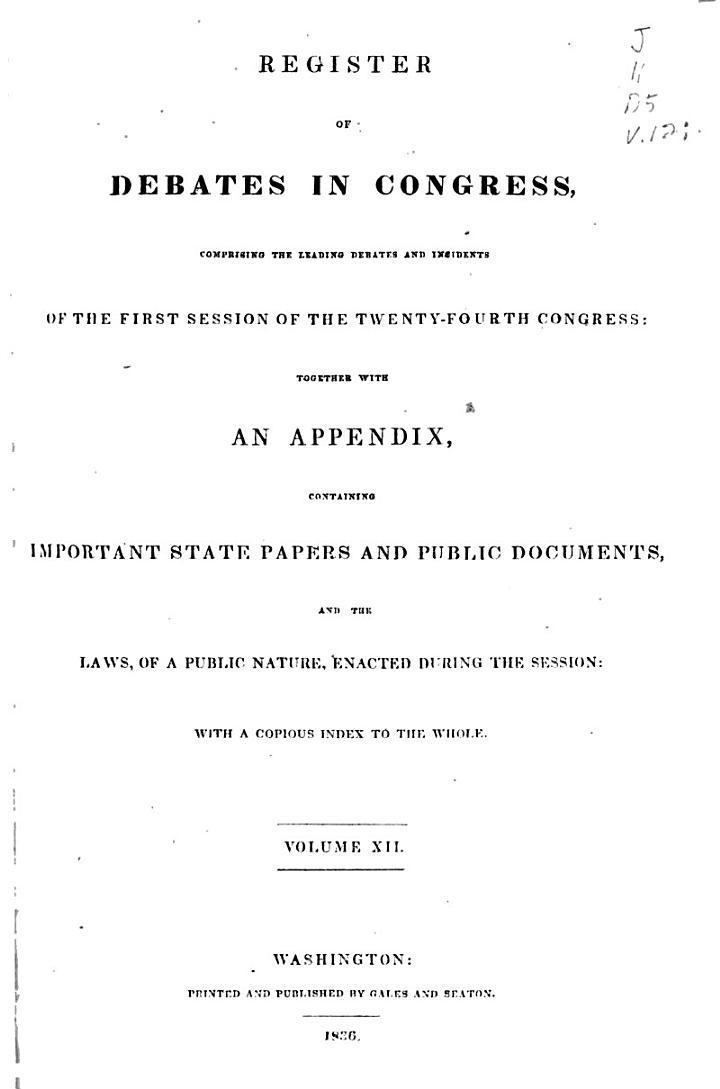 Register of Debates in Congress