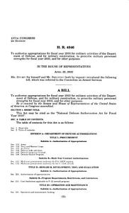 Hearings on National Defense Authorization Act for Fiscal Year 2003  H R  4546 and Oversight of Previously Authorized Programs  Before the Committee on Armed Services  House of Representatives  One Hundred Seventh Congress  Second Session PDF