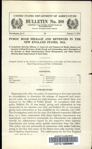 Public Road Mileage and Revenues in the New England States  1914