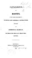 Catalogue of Books  in the various departments of science and general literature  for sale by Armour   Ramsay     Montreal PDF