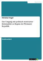 Der Umgang mit politisch motivierter Kriminalität zu Beginn der Weimarer Republik