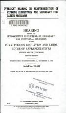 Oversight Hearing on Reauthorization of Expiring Elementary and Secondary Education Programs PDF