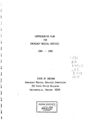 Comprehensive Plan for Emergency Medical Services  1984 1988 PDF