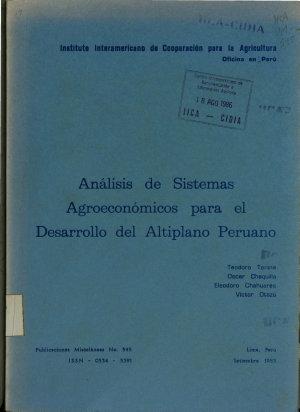 Analisis de Sistema agroeconomicos para el desarrollo del altiplano peruano PDF