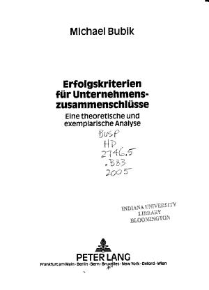 Erfolgskriterien f  r Unternehmenszusammenschl  sse PDF