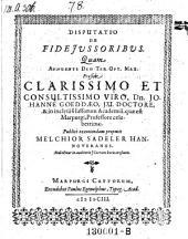 De fidejussoribus; resp. Melchior Sadeler