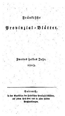 Fr  nkische Provinzial Bl  tter PDF