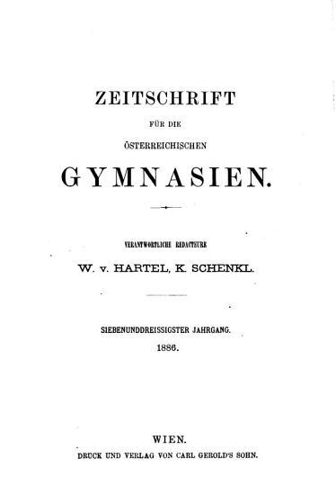Zeitschrift f  r die   sterreichischen Gymnasien PDF