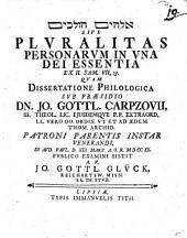 Pluralitas personarum in una Dei essentia