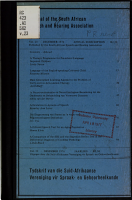 Journal of the South African Speech and Hearing Association PDF