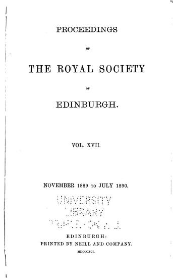 Proceedings of the Royal Society of Edinburgh PDF