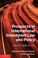 Prospects in International Investment Law and Policy PDF