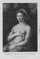 Raphaelis Amasia, vulgo la Fornarina: Exstat Romae in Aedibus Barberinis