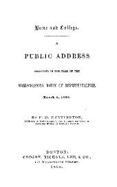 A PUBLIC ADDRES DELIVERED IN THE HALL OF THE MASSACHUSETTS HOUSE OF REPRESENTATIVES, MARCH 8, 1860