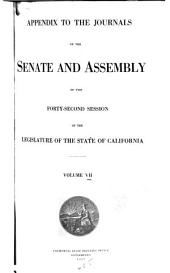 Appendix to the Journals of the Senate and Assembly ... of the Legislature of the State of California ...: Volume 7, Part 1