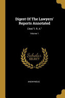 Digest Of The Lawyers  Reports Annotated PDF