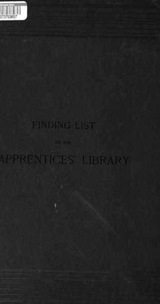 Download Finding List of the Apprentices  Library     Book