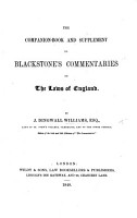 The Companion Book and Supplement to Blackstone s Commentaries on the Laws of England PDF