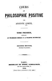 Cour de philosophie positive: Volume 1