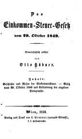 Das Einkommen-Steuer-Gesetz vom 29. Okt. 1849