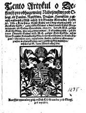 Tento Artykul o Deffensy pro obhagowanj Naboženstwj pod Obogi, od Panůw, Rytjřstwa, Pražan, Hornjkůw ...