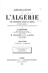 Législation de l'Algérie: lois, ordonnances, décrets et arrêtés, Volume2