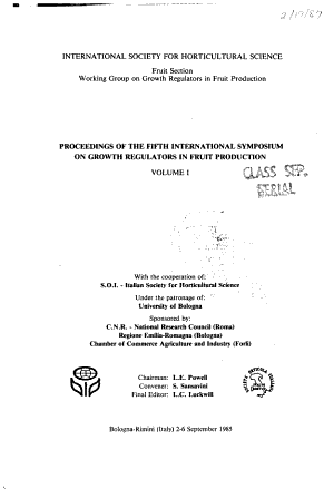 Proceedings of the Fifth International Symposium on Growth Regulators in Fruit Production PDF