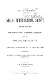 Transactions of the Indiana Horticultural Society ...: Volume 25