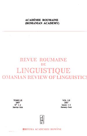 Revue Roumaine de Linguistique PDF