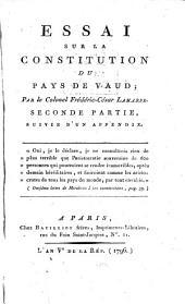 Essai sur la Constitution du pays de Vaud: Volume2