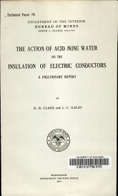 The action of acid mine water on the insulation of electric conductors: A preliminary report