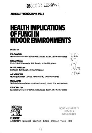 Health Implications Of Fungi In Indoor Environments