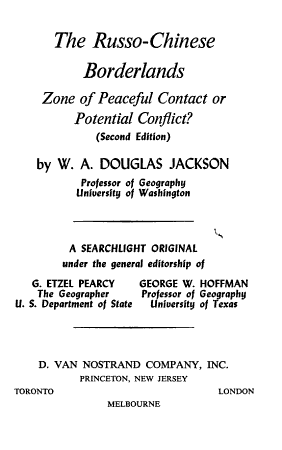 The Russo Chinese Borderlands  Zone of Peaceful Contact Or Potential Conflict  PDF