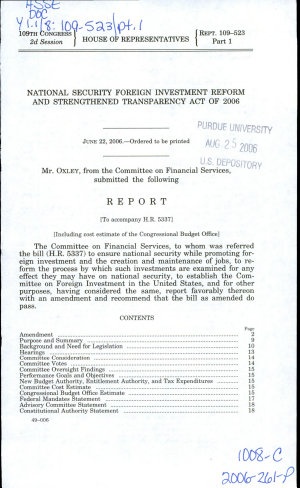 National Security Foreign Investment Reform and Strengthened Transparency Act of 2006