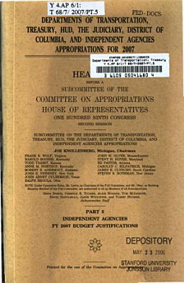 Departments of Transportation  Treasury  HUD  the Judiciary  District of Columbia  and Independent Agencies Appropriations for 2007
