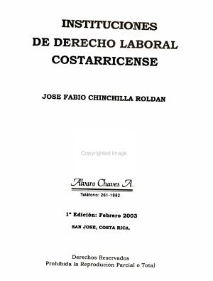 Instituciones De Derecho Laboral Costarricense