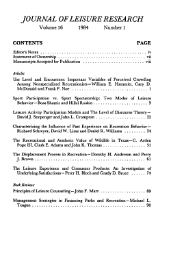 Journal of Leisure Research PDF