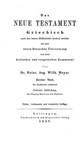 Kritisch exegetisches Handbuch über den Brief an die Galater