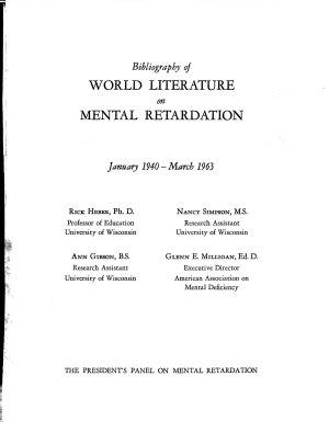 Bibliography of World Literature on Mental Retardation  January 1940 March 1963 PDF