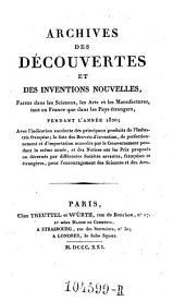 Archives des Decouvertes Et Des Inventions Nouvelles, Faites dans les Sciences, les Arts et les Manufactures, tant en France que dans les Pays etrangers: Volume13