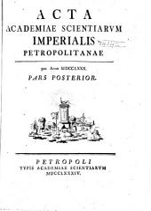 Acta Academiae Scientiarum Imperialis Petropolitanae: Volume8