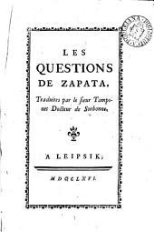 Les questions de Zapata, tr. par le sieur Tamponet: Volume 2