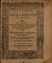 Axiomata theol. de sacramentis in genere