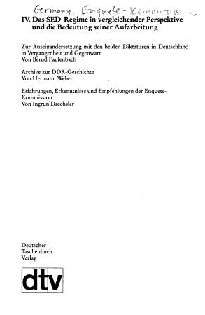 Das SED Regime in vergleichender Perspektive und die Bedeutung seiner Aufarbeitung PDF