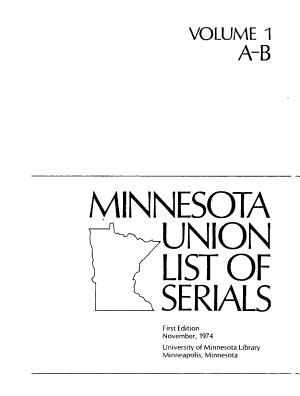 Minnesota Union List of Serials PDF