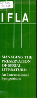 Managing the Preservation of Serial Literature PDF