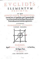Euclidis Elementum decimum: in quo singularum demonstrationum lineae, et superficies tam commensurabiles, et incommensurabiles quam rationales et irrationales exprimuntur